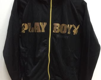 Vintage Playboy Bunny Big SpellOut Logo Sweater Black Gold Colour Streetwear