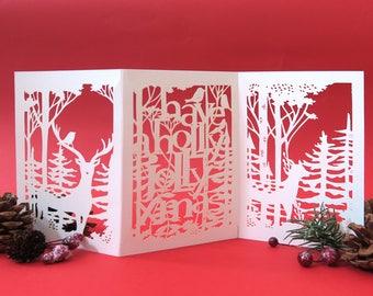 Holly Christmas card, 3D Christmas card, Forest lover card, Christmas decoration, Christmas stag card, Winter holiday card, Noel card