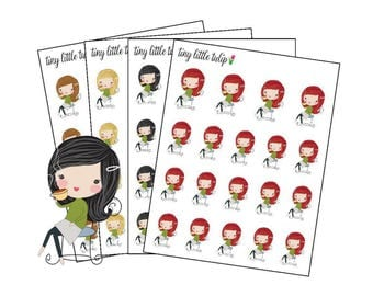 Planner Stickers Girl Drinking Coffee
