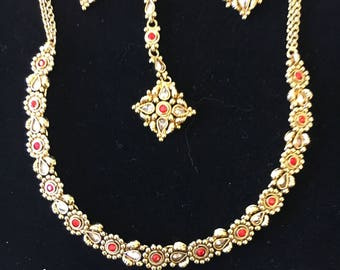 Gold Plated with imitation ruby stone necklace set