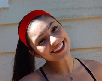 Solid Color Womans Thin or Thick Yoga Headband, Red Headband, Forest Green Headband, Navy Headband, Purple Headband, Lime Headband