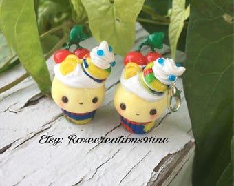 Superhero polymer clay cupcake charm, planner charm