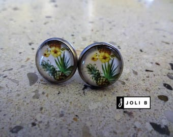 Stainless steel - 12 mm glass Cabochon - pineapple earrings