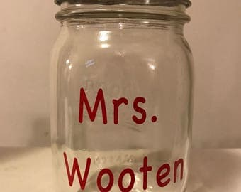 Personalized Mason Jar with Teacher's Name