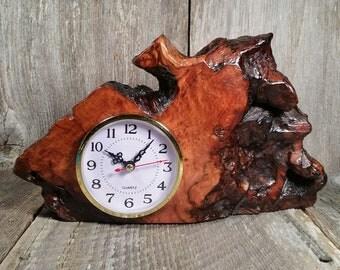 Redwood Burl Clock Table Shelf Mantle Desk Office Gifts for Men Sitting Wood #T