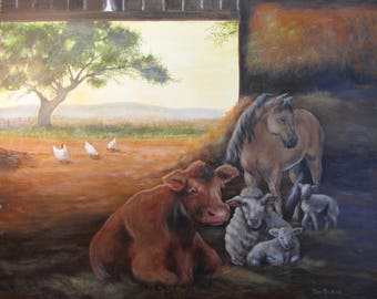 Original Painting Peaceful Farm Animals 20x16