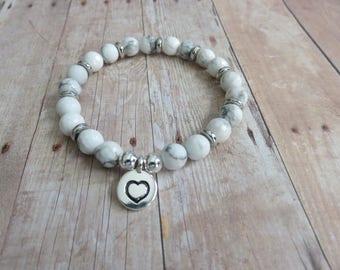 Heart Charm Bracelet, Howlite stretch Bracelet, Yoga , Meditation, Winter Holiday Gift