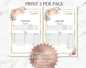 Peach Watercolor Floral and Cream LipSense and Makeup Business Order Form Tempate