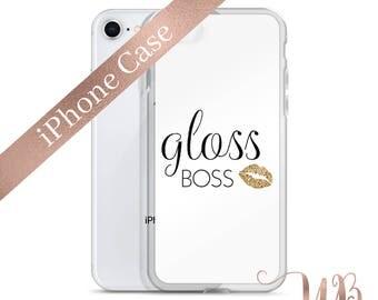 Gold Glitter Gloss Boss iPhone Phone Case