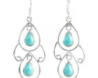 Dangle earrings in silver with natural stones