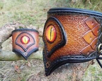 "Pair of bracelets ""Medieval / Fantasy Dragons"" yellow/orange"