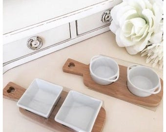 Set of 2 Bamboo Trays with 2 Dipping Bowls