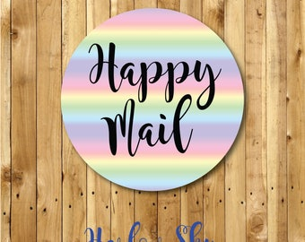 50 x Glossy Rainbow Happy Mail Stickers Labels Great for your packages