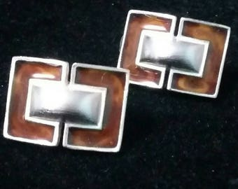 Anne Klein silver with enamel Rectangle clip on earrings