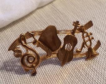 Goldtone Musical Instrument Brooch