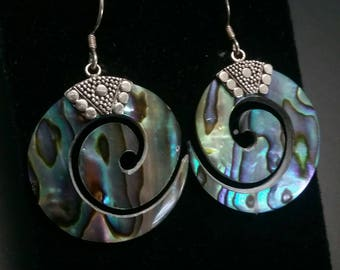 Vintage sterling silver and abalone pierced earrings
