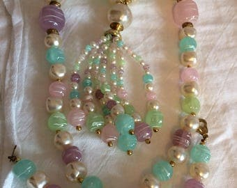 Plastic(?) Pastel Beaded Tassel Necklace