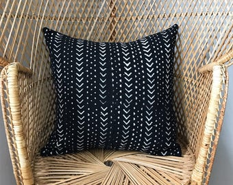 African Mudcloth Pillow Cover in Black