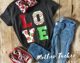 LOVE Tee Shirt, Strawberry Love Tee Shirt, Strawberry Love T-Shirt