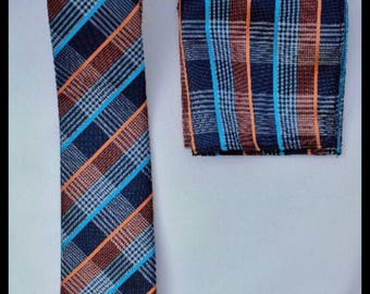 Blue and orange tie and pocket square