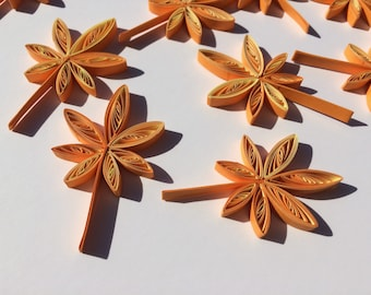 Quilled Leaves Leaf Maple Hemp Paper Quilling Art Confetti Scatter Ornaments Gift Fillers Fall Autumn Thanks Giving Day Wedding Orange