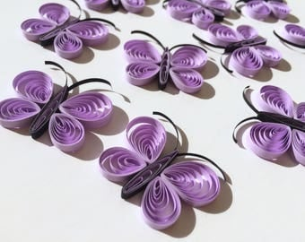 Quilled Butterflies Paper Quilling Art Confetti Scatter Ornament Gift Filler Easter Mothers Day Baby Bridal Shower Wedding Purple Spring