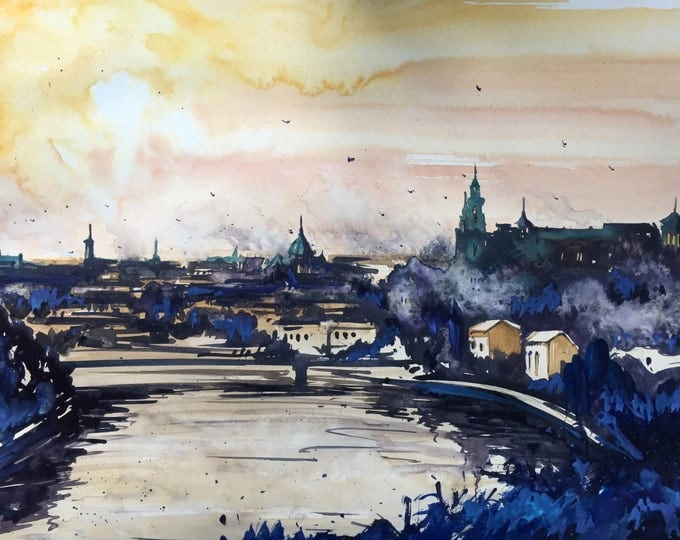 Krakow from above in watercolor