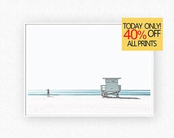 Lifeguard Tower, Summer Decor, Summer Prints, Beach Life, Coastal Wall Art, Beach Printable, Large Wall Art Print, Digital Download, 105v