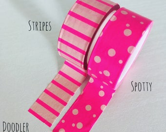 Pink washi tape, spotty washi tape, stripey washi tape