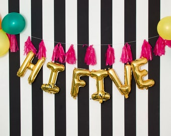 "Gold Letter Balloons | Hi Five 16"" Letter Balloons 