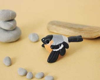 Eurasian Bullfinch Figurine - Handmade Polymer Clay Cute Bird In Flight