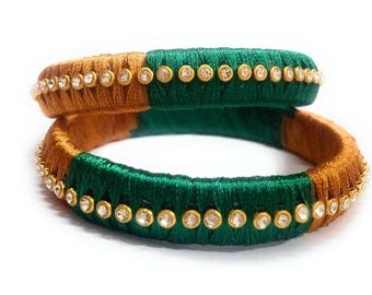 Green and Golden Silk Thread Bangle