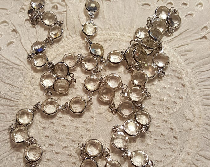 "Swarovski brand Channel Set 18"" Silvertone and Clear Sautoir Necklace Sparkly Clean Not Worn"