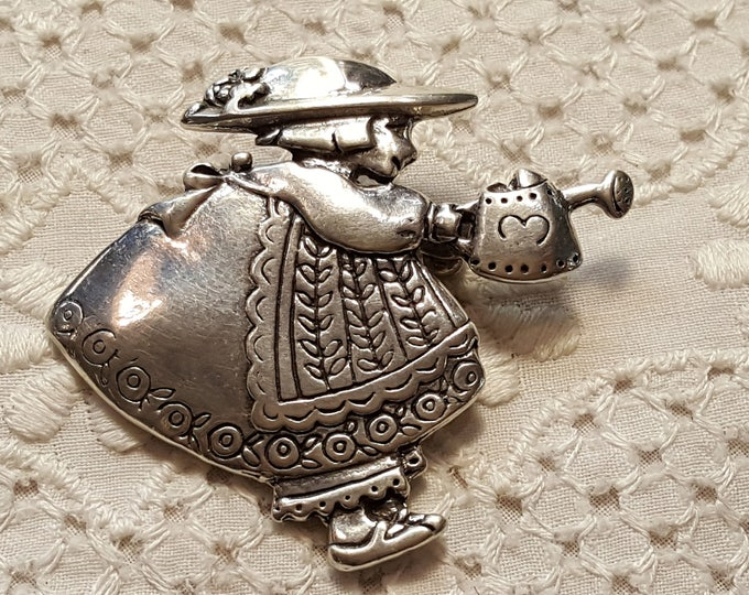 Mary Engelbreit Me Ink Sterling Silver Brooch Pin Girl with Dress Hat  Watering Can Gardening