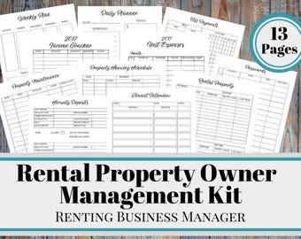 Rental Property Owner Management Kit, Rental Owner Printable Business Manager, Landlord Tool, Rental Income Binder, Air BnB, Renting Leasing