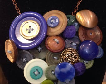 Recycled button necklace