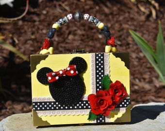 Disney Inspired Minnie Mouse Cigar Box Purse