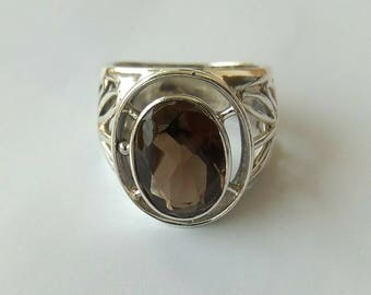 Smoky quartz in sterling silver 925,