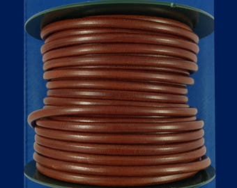 European 5mm leather cord - Genuine round leather cord -  Medium brown cognac - Jewelry findings - Quality leather made in Spain - PER YARD