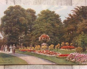 vintage postcard, postcard, vintage cards, vintage bath postcard, vintage royal avenue victoria park bath postcard, royal avenue bath