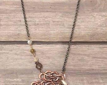 Anitique Copper Medallion Necklace