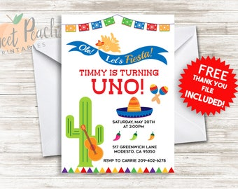 Fiesta Birthday Invite 5x7 Invitation Kids Uno 1st First ANY AGE Personalized Digital Birthday Fiesta, Party, Guitar, Chile, #132.0