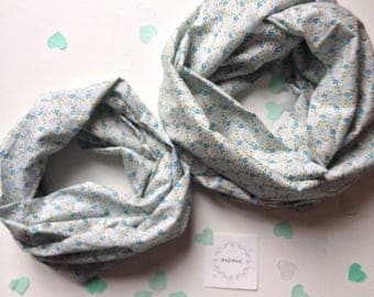 Duo scarves / cowls mother - daughter - PICPIC - Liberty Petites ideas owls for moments fancy cotton Voile