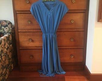 Amazing 70's blue dress vintage size S