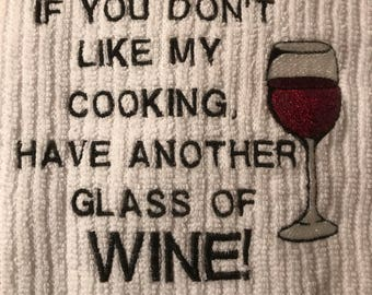 Embroidered Novelty Wine Towel