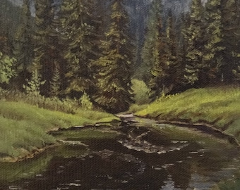 Mountain Stream - Original Landscape Oil Painting by Mark Marcuson