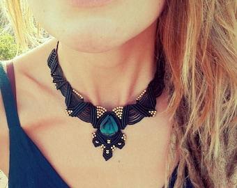 Black Makramee Necklace, Black Tiger Eye Stone, Brass Beads, Adjustable Necklace,Choker Necklace, 100% Handmade Necklace, Gipsy Style Choker