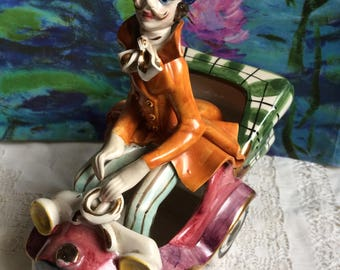 Vintage Italian figurine Old car and a driver