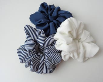 A set of 3 scrunchies, white , Navy blue and white and blue  scrunchies   scrunchie Chouchou, hair accessories, handmade by ScrunchiesCo