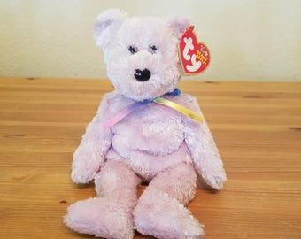Ty Beanie Babies Sherbert Purple Soft Fuzzy Bear